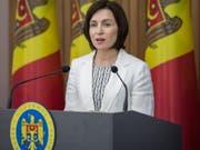 Die moldauische Ministerspräsidentin Maia Sandu hat ihre Arbeit in dem Land aufgenommen. «Wir haben den Oligarschen besiegt», sagte sie. EPA/DUMITRU DORU (Bild: KEYSTONE/EPA/DUMITRU DORU)
