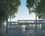 So soll das neue Sekundarschulhaus auf dem Zirkusplatz Sursee aussehen. (Visualisierung: PD)