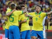 Brasilianischer Torjubel zum Auftakt der Copa America (Bild: KEYSTONE/EPA EFE/SEBASTIÃO MOREIRA)