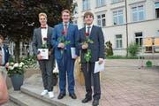 Die Besten der Besten: Samuel Peter Staub 5,35, Fabian Graf 5,46 und Denis Sutter 5,35. (Bild: Philipp Wolf)