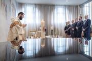 Die Zeremonie im Friedental mit dem polnischen Vizepremier Jarosław Gowin (ganz rechts). (Bild: Pius Amrein, Luzern, 16. Juni 2019)
