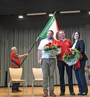 Fahnenträger Willi Graber (links), Götti André Häfliger, Präsident Christian Graber und Gotte Sandra Zettel. (Bild: pd)