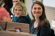 Die zwei weiblichen Aushängeschilder der Grünliberalen: Fraktionschefin Tiana Moser (rechts) und die Berner Nationalrätin Kathrin Bertschy (links). (Bild: KEYSTONE/Peter Schneider)