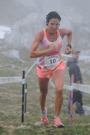 Haldi-Berglauf in Schattdorf. Tagessiegerin Lucia Hofmann kurz vor dem Ziel auf dem Butzenboden