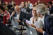 Von links: Die SP-Kantonsräte Peter Fässler (Kriens), Sara Muff (Sursee) und Andy Schneider (Rothenburg). (Bild: Nadia Schärli, Luzern, 17. Juni 2019)