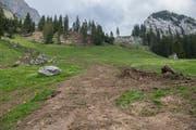 Auf der Alp Fräkmüntt hat eine Lawine Geröll und Äste mitgerissen. Eine Bewirtschaftung der Alp ist nicht vollumfänglich möglich. (Bild: Dominik Wunderli, 18. Juni 2019)
