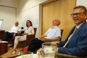 20. Birkengespräch mit Martin Gehrer, Susanne Vincenz-Stauffacher, Moderator Thomas Feierabend und Martin Schmidt. Bild: Johannes Wey, 18.6.2019
