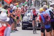 Claudio Imhof in der zweiten Etappe auf der Fahrt ins Bergpreistrikot.(Bild: Andy Mueller/freshfocus)
