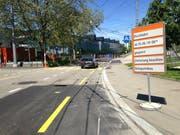 Die Steinachstrasse soll kommende Woche einen neuen Deckbelag erhalten. Dafür muss sie zwischen der Rorschacherstrasse und dem Haus Nummer 42 für fast 24 Stunden gesperrt werden. (Bild: Reto Voneschen - 1. Juni 2019)