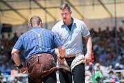 Joel Wicki und Pirmin Reichmuth trennen sich im vierten Gang Unentschieden. (Bild: Eveline Beerkircher (Willisau, 2. Juni 2019))