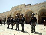 Israelische Soldaten vor dem Felsendom bei der Al-Aksa-Moschee in Jerusalem. (Bild: KEYSTONE/AP/MAHMOUD ILLEAN)