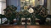 Das historische Uhrwerk im Turm der Kirche Linsebühl. (Bild: Stadt St.Gallen)