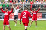 Grosser Jubel beim Schweizer Team. (Bild: Fabio Baranzini / Swiss Faustball, Aarau, 23. Juni 2019)
