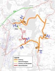 Situationsplan während der Bau- und Sanierungsarbeiten Ägeristrasse Baar und Tanente Zug/Baar. (Karte: PD)