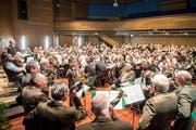 Die letztjährige Versammlung von Jagd Thurgau mit Jagdhornbläsern für die Fanfaren. (Bild: Urs Bucher, 17. März 2018)