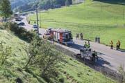 Die Unfallstelle auf der Speicherstrasse zwischen Rank (links) und «Schwarzem Bären». (Bild: Stadtpolizei St.Gallen - 24. Juni 2019)