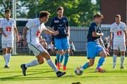 Francesco Margiotta schiesst gleich bei seinem Einstand ein Tor für den FC Luzern; es ist das 1:1 gegen Winterthur im Testmatch in Brunnen. (Bild: Martin Meienberger/Freshfocus, 26. Juni 2019)