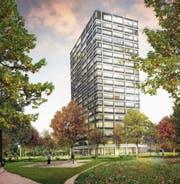 Mit seinen 64 Metern Höhe wird das Geschäfts- und Wohnhaus Steinachs Ortsbild prägen. (Bild: PD)