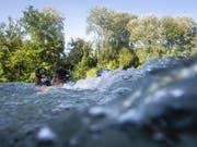 Ein Schwimmer am Donnerstag in der Aare in Bern. (Bild: KEYSTONE/ANTHONY ANEX)
