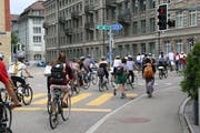 Training für Bern? Vor einer Woche wurde in St.Gallen bereits einmal per Velo für eine griffigere Klimapolitik demonstriert. (Bild: Emma-Emily Wolf - 21. Juni 2019)