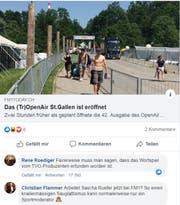 Ein Facebook-Post zum Tropen Air St.Gallen - einschliesslich Präzisierung von René Rödiger und einer eher kritischen Wortmeldung.