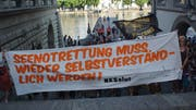Die Demonstranten auf dem Reusstreppe in Luzern (Bild: zvg)