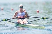 Jeannine Gmelin rudert in Richtung Silbermedaille. (Bild: Pius Amrein, 2. Juni 2019)