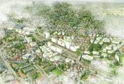 Nicht so weit gehen will derzeit die Stadt: Eine ihrer Studien sieht eine dichte Überbauung rund um den Bahnhof St.Fiden, aber keine Überdeckung der Gleise vor. (Illustration: Stadtplanung St.Gallen -7. Dezember 2017)