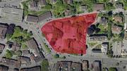 In rot der Perimeter des neuen HSG-Campus am Platztor. Er wird begrenzt durch den Unteren Graben, die St.-Jakob-Strasse, den Magniberg und die Böcklinstrasse. (Illustration: Universität St.Gallen/PD - 30. Juni 2019)