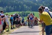 Die Velofahrer kurz vor dem Bergpreis auf dem Gupf. (Bilder: Christoph Heer)