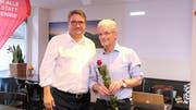 Christian Levrat, Präsident der SP Schweiz (links), setzt grosse Hoffnungen in den Urner Nationalratskandidaten der SP Uri, Urs Kälin. (Bild: Carmen Epp, Altdorf, 4. Juni 2019)