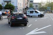 Die Unfallstelle nach der Verzweigung der Zürcher- mit der Fürstenlandstrasse. (Bild: Stadtpolizei St.Gallen - 4. Juni 2019)