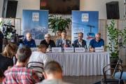 Die Medienkonferenz im Hotel Terrace in Engelberg beginnt. (Bild: Urs Flüeler/Keystone, Engelberg, 5. Juni 2019)