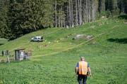 Bei den Revisionsarbeiten der Titlis Gondelbahn zwischen Engelberg und Trübsee ereignete sich auf der Gerschnialp ein tragischer Arbeitsunfall. Im Bild ein Mitarbeiter der Kantonspolizei Obwalden bei den Ermittlungen zum Unfallhergang. (Bild: Keystone/Urs Flüeler, 5. Juni 2019)