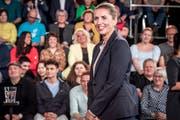 Mette Frederiksen während einer Wahlkampf-Fernsehdebatte. (Bild: Mads Claus Rasmussen/EPA; Odense, 19. Mai 2019)