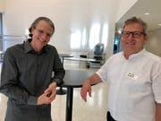 Marc Böhler, Internetsoziologe/Mediencoach (links) und Gemeinderat Eddie Frei. (Bild: Andrea Häusler)