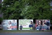 Europawahl-Plakate der Linken, der Grünen und der Sozialdemokraten in Berlin. (Bild: Stefan Boness/Imago (11. Mai 2019))