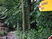 Eine Wanderwegtafel an einem Wanderweg am Stanserhorn. 1. August 2015 (Neue NZ/Oliver Mattmann)