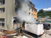 Weshalb es in der Mulde brannte, ist derzeit noch unklar. (Bild: PD)