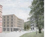 So soll das neue Wohnhaus Mettenweg aussehen (rechts das bestehende). (Visualisierung: PD)