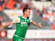 Marco Aratore, hier noch im Dress des FC St. Gallen, wechselt aus Russland zurück in die Schweiz zum FC Lugano (Bild: KEYSTONE/JEAN-CHRISTOPHE BOTT)