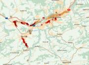 Zwischen St.Gallen-Winkeln und Gossau staut es. (Bild: FM1Today/Screenshot TomTom)