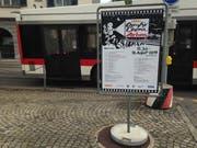 Werbung für Open Air Cinema Arbon am St.Galler Brühltor. (Bild: Reto Voneschen - 11. Juli 2019)