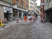 Baustelle in der Engelgasse am Donnerstagmittag. (Bilder: Reto Voneschen - 11. Juli 2019)