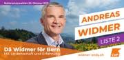 Wahlplakat von Andreas Widmer, CVP.