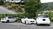 Der Lenker verlor die Kontrolle über sein Auto und kollidierte danach auf dem Parkplatz mit einem abgestellten Fahrzeug. Drei Autos wurden beschädigt. (Bild: Landespolizei)