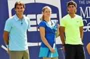 Beim US Open 2010 spielte Clijsters mit Federer und Nadal ein Show-Match. (Bild: AP)