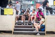 Die Plattform darf von einer Gruppe jeweils fünf Minuten in Beschlag genommen werden. (Bild: Andrea Stalder)