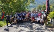 Die Musikanten der befreundeten Musikvereine aus Bauen und Rehling sowie Gäste trafen sich im Urnerland. (Bild: PD, Bauen, 30. Juni 2019)