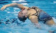 Die Liechtensteinerin Lara Mechnig, Synchronschwimmerin des SC Flös Buchs, behielt in beiden Solo-Disziplinen die Oberhand gegenüber der Schweizer Konkurrenz aus dem eigenem Verein. Bild: Patrick B. Kraemer / Keystone